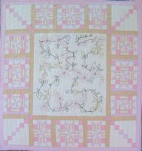 Quilt of Hope - in honor of Cancer Survivors - hand embroidery quilt